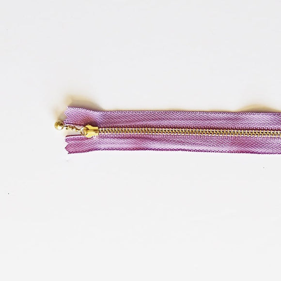 YKK Metalic Zippers with Water-drop Pull - Lilac (15CM)