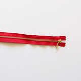 YKK Metalic Zippers with Water-drop Pull - Red (15CM)