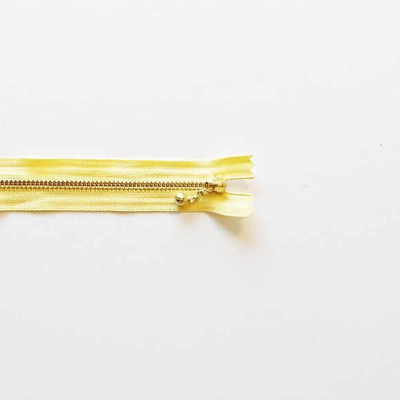 YKK Metalic Zippers with Water-drop Pull - Yellow (20CM)
