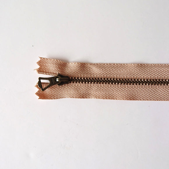 YKK Bronze Zipper with Tulip Pull - Beige (20cm/8inches)