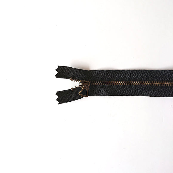 YKK Bronze Zipper with Tulip Pull - Black (20cm)