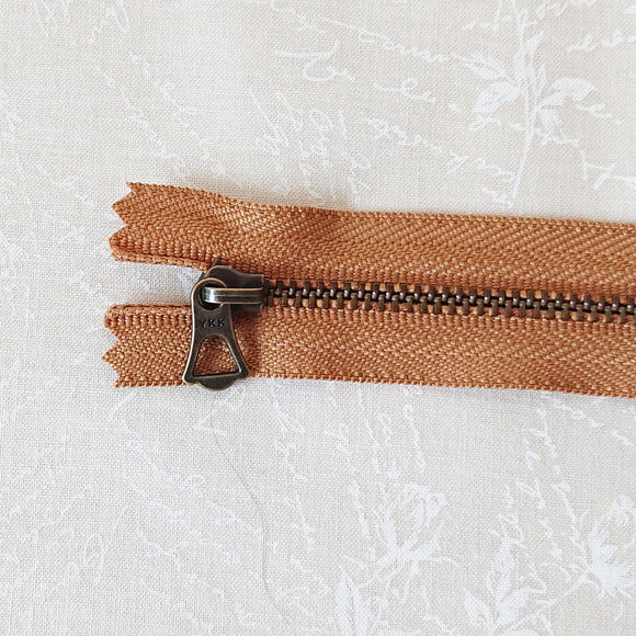 YKK Bronze Zipper with Tulip Pull - ochre (15cm)