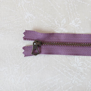 YKK Bronze Zipper with Tulip Pull - Purple (15cm)