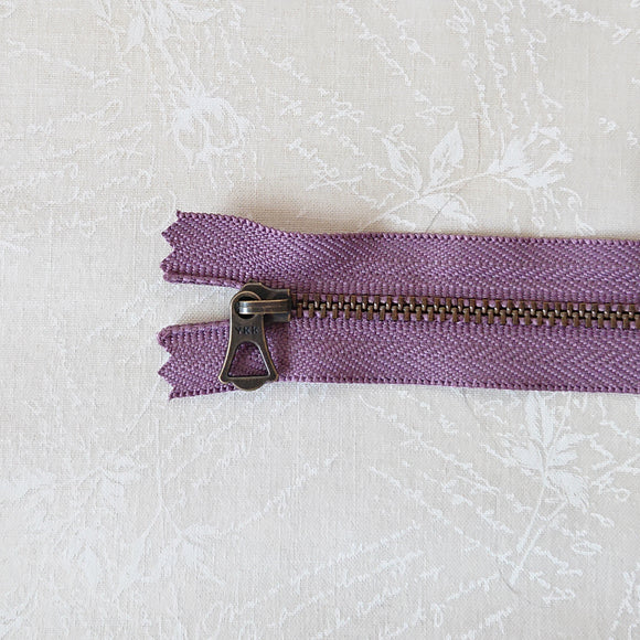 YKK Bronze Zipper with Tulip Pull - Purple (20cm)