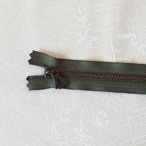 YKK Bronze Zipper with Tulip Pull - Olive Green (15cm)