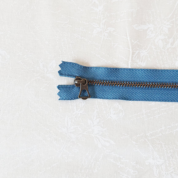 YKK Brone Zipper with Tulip Pull - Lake Blue (25cm)