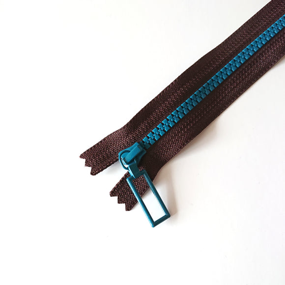 YKK Combo Zipper Brown + Lake Blue(30cm)