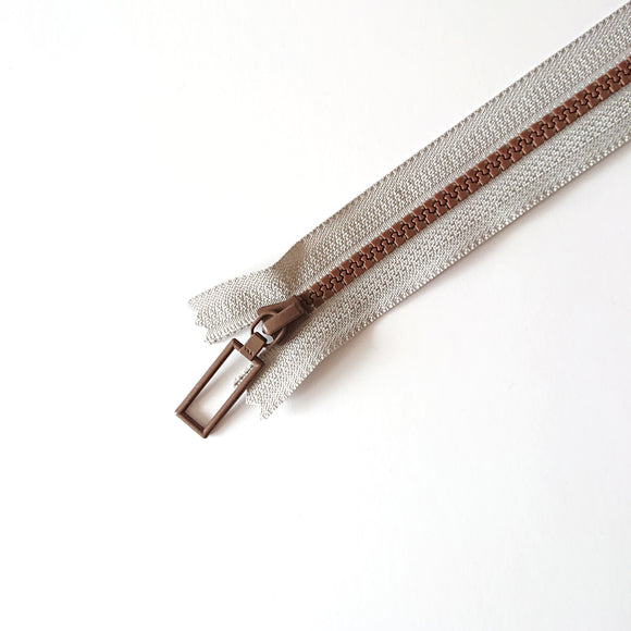 YKK Combo Zipper Grey + Brown (20cm)