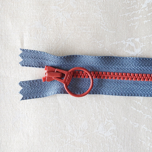 YKK Combo Zipper Steel Blue + Brick Red (40cm/16in)