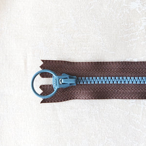 YKK Combo Zipper Dark Chocolate + Steel Blue  (20cm)