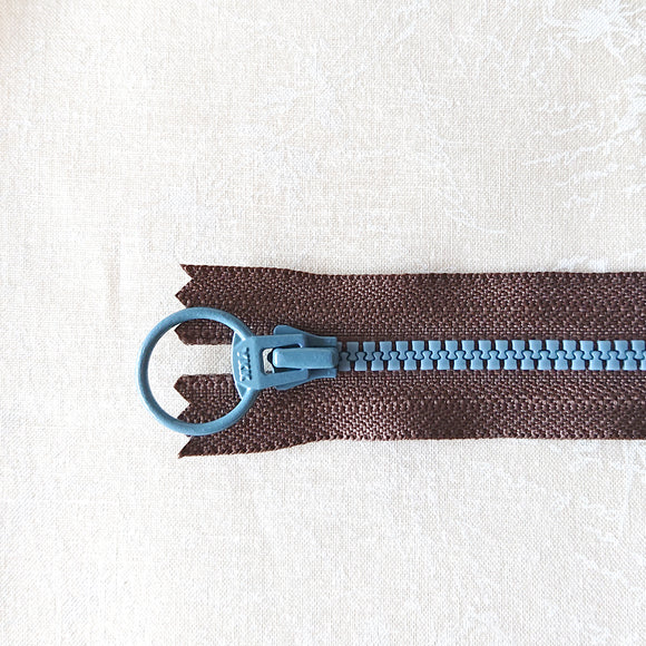 YKK Combo Zipper Dark Chocolate + Steel Blue (40cm/16in)
