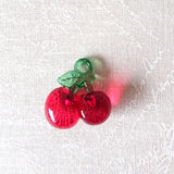 Zipper Charm - Red Transparent Cherry