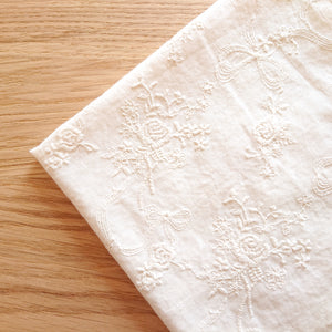 Embroidered Cotton Fabric --  Rose (Extra wide) (Pre - Order)