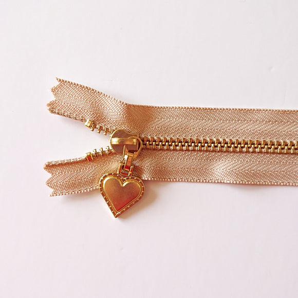 YKK Gold Zipper with Heart Pull - Beige (30cm/12inches)