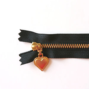 YKK Gold Zipper with Heart Pull - black (30cm/12inches)