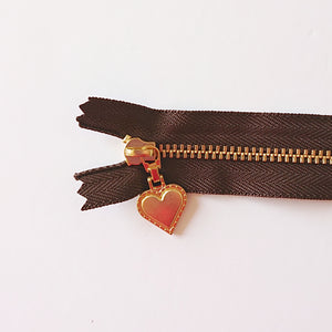 YKK Gold Zipper with Heart Pull - brown (20cm/8inches)