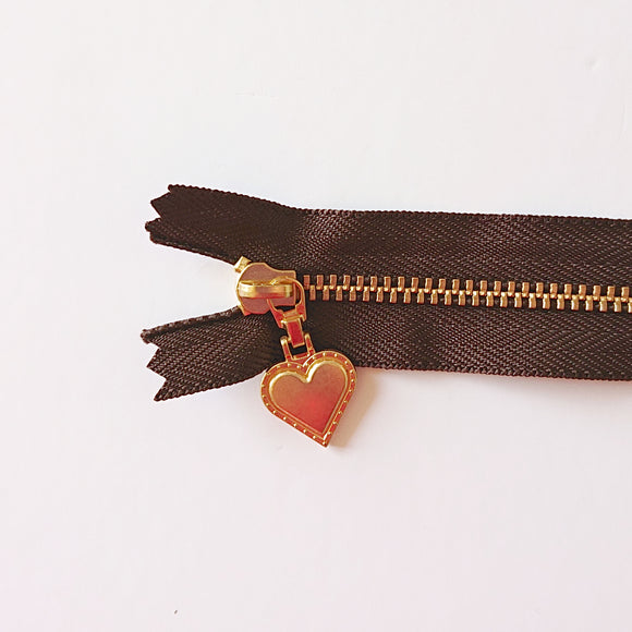 YKK Gold Zipper with Heart Pull - brown (30cm/8inches)