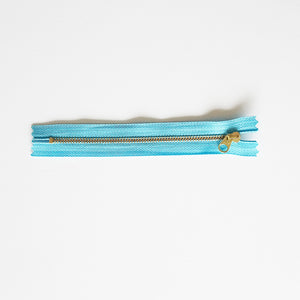 YKK Metalic Zipper with Flat Round Pull - Light Blue