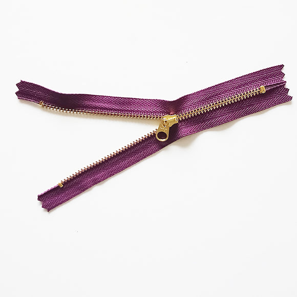 YKK Metalic Zipper with Flat Round Pull- Purple