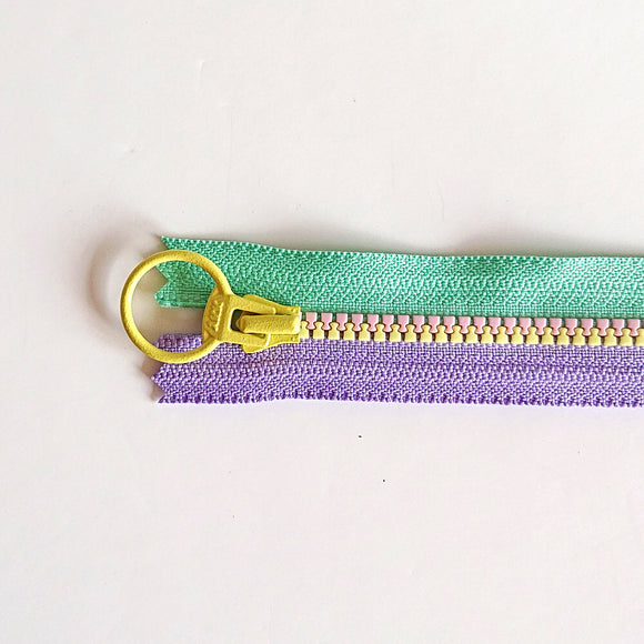 YKK Triple Zipper- Turquoise/Lilac/Yellow (40cm)