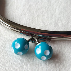 Metallic Purse Clasp Frame with Round Polka Dotted Beads -- Blue