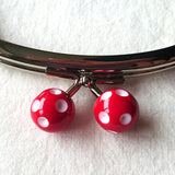 Metallic Purse Clasp Frame with Round Polka Dotted Beads -- Red