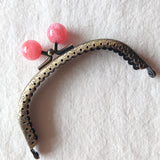 Metallic Purse Clasp Frame with Round Beads -- Cloudy Cherry Pink