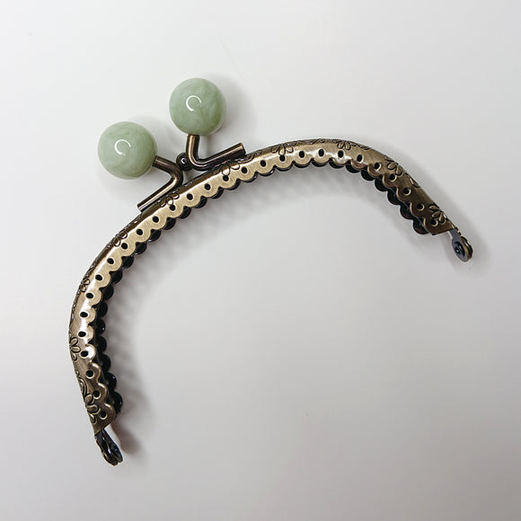 Metallic Purse Clasp Frame with Round Beads -- Jade