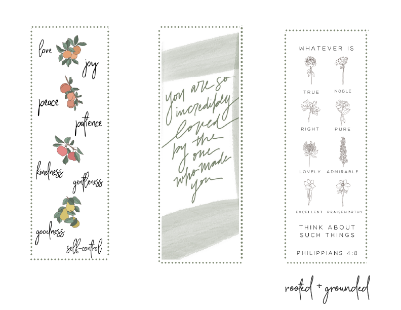 Free Printable Bookmarks Rooted + Grounded