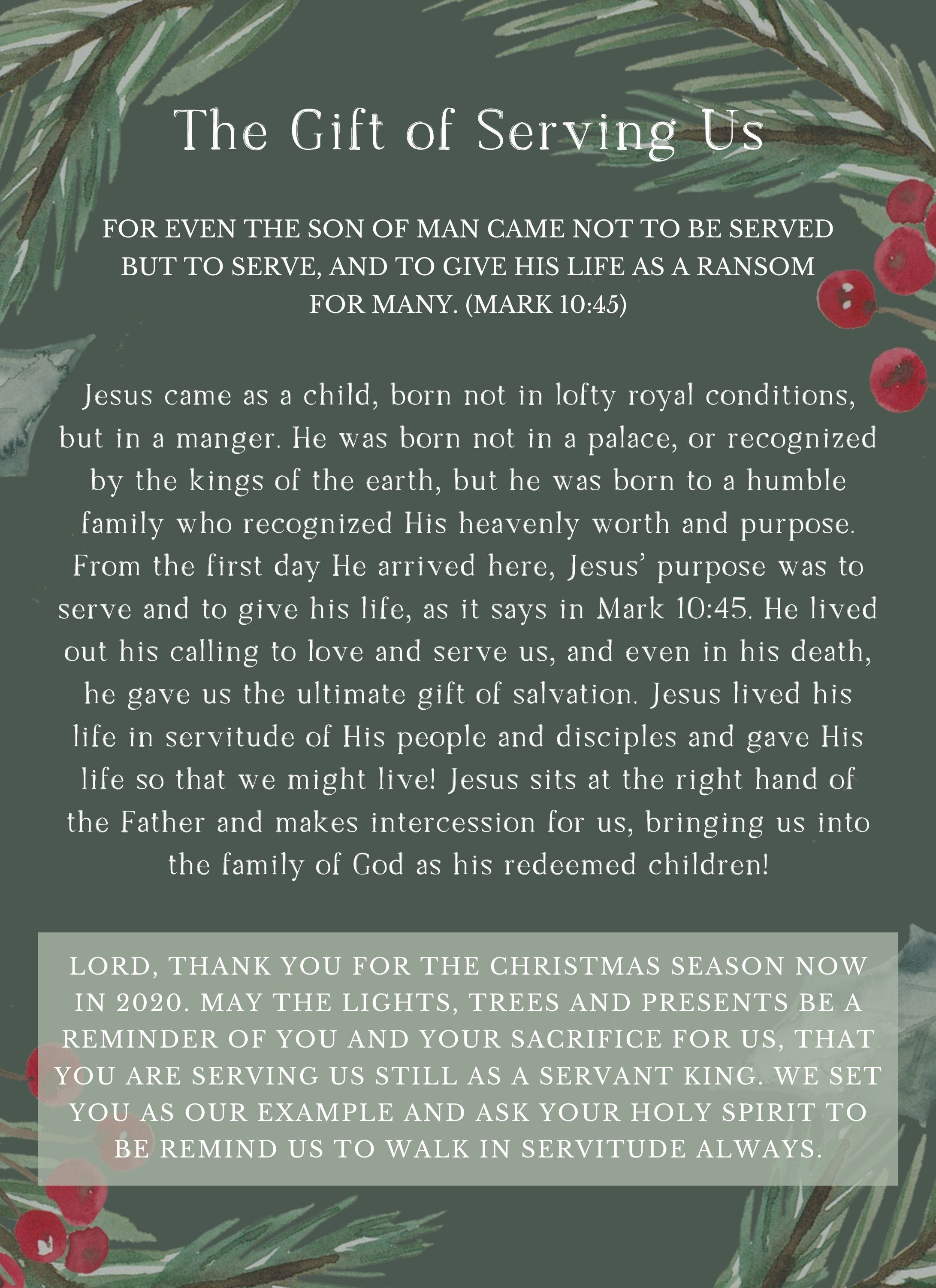 """Rooted and Grounded Advent """"The Gift of Serving"""""""