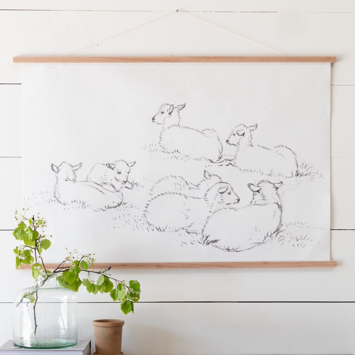 Sweet Little Lambs Landscape Hanging Canvas