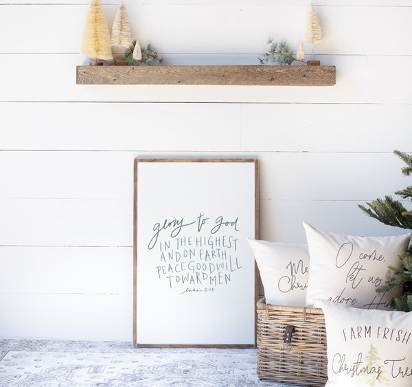 Glory to God in the Highest Christmas Wood Sign | Hand Lettered Design