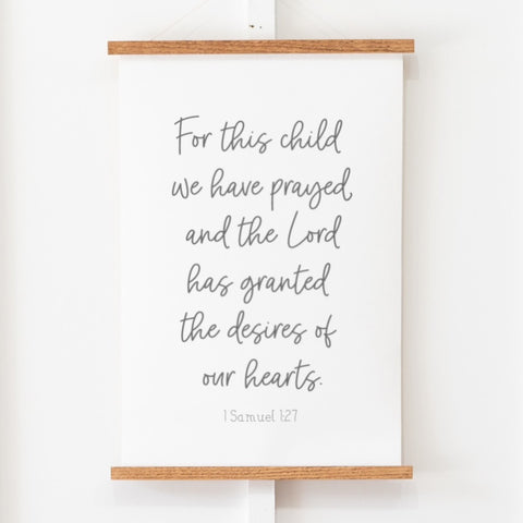 For This Child We Have Prayed Hanging Canvas
