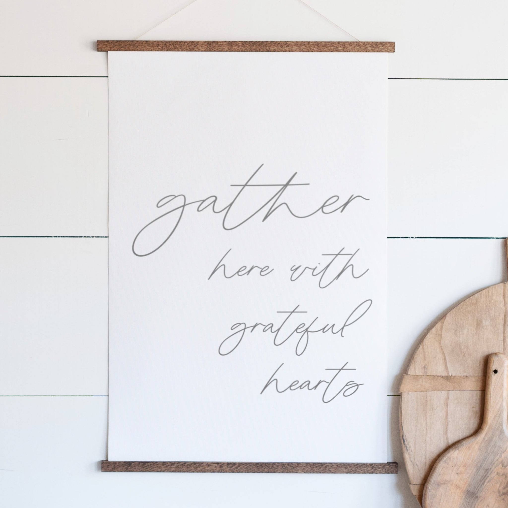 Gather Here With Grateful Hearts Hanging Canvas