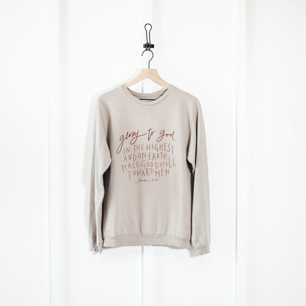 Glory to God in the Highest Luke 2:14  | Hand Lettered Sweatshirt