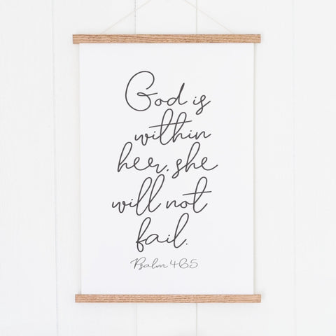 God Is Within Her She Will Not Fail Hanging Canvas