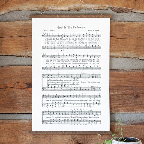 Great Is Thy Faithfulness Sheet Music Hanging Canvas