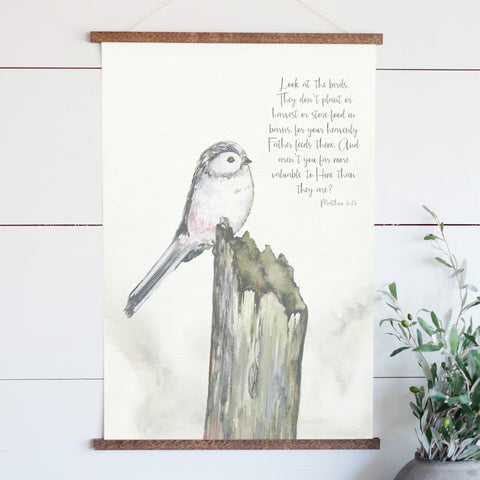 Look at the Birds Illustrated Scripture Hanging Canvas