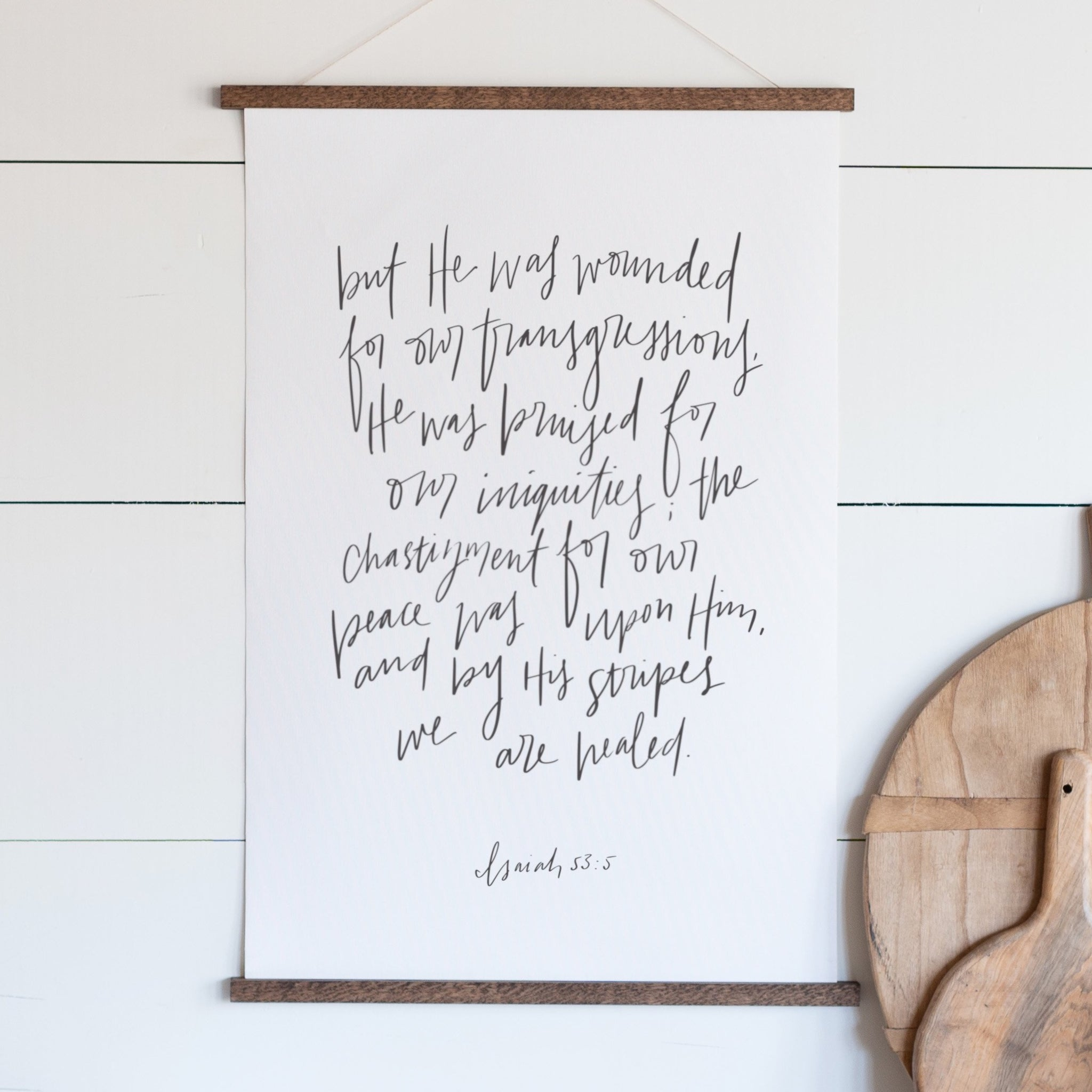 Isaiah 53 Hand Lettered Hanging Canvas