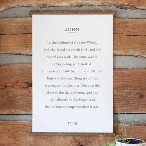 John 1:1-5 In the Beginning was the Word Bookpage Hanging Canvas