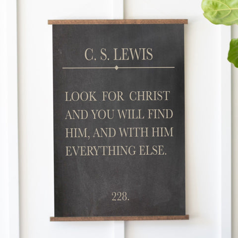 Look For Christ C.S. Lewis Bookpage Hanging Canvas