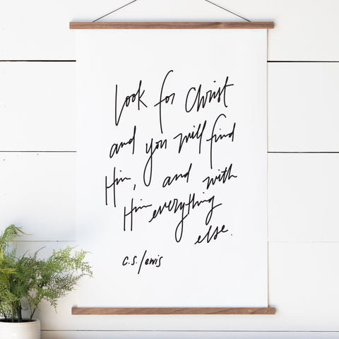 Look for Christ C.S. Lewis Hand Lettered Hanging Canvas