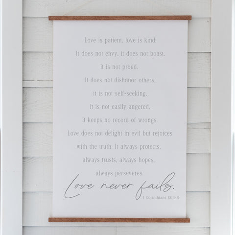 Love Never Fails Hanging Canvas