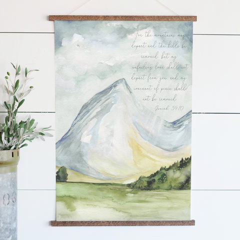 For The Mountains May Depart Illustrated Scripture Hanging Canvas