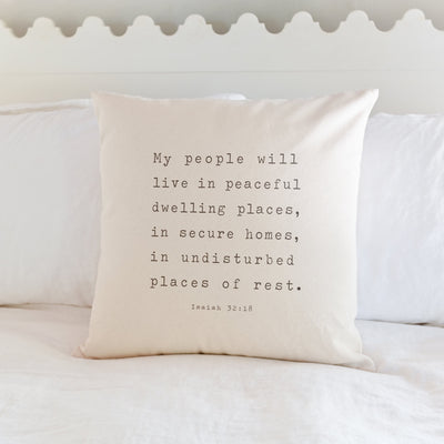 Peaceful Dwelling Places | Isaiah 32:18 Sofa Pillow