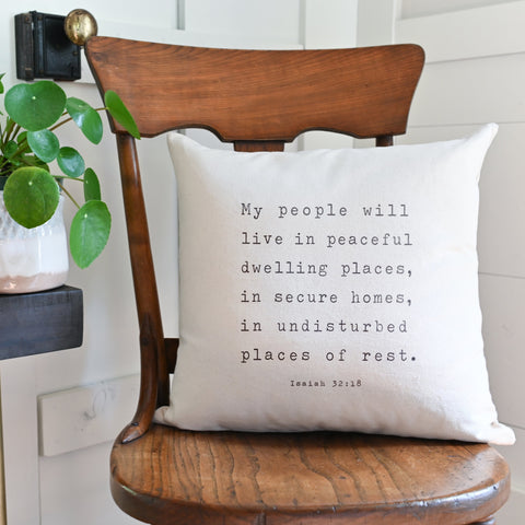 Peaceful Dwelling Places Throw Pillow