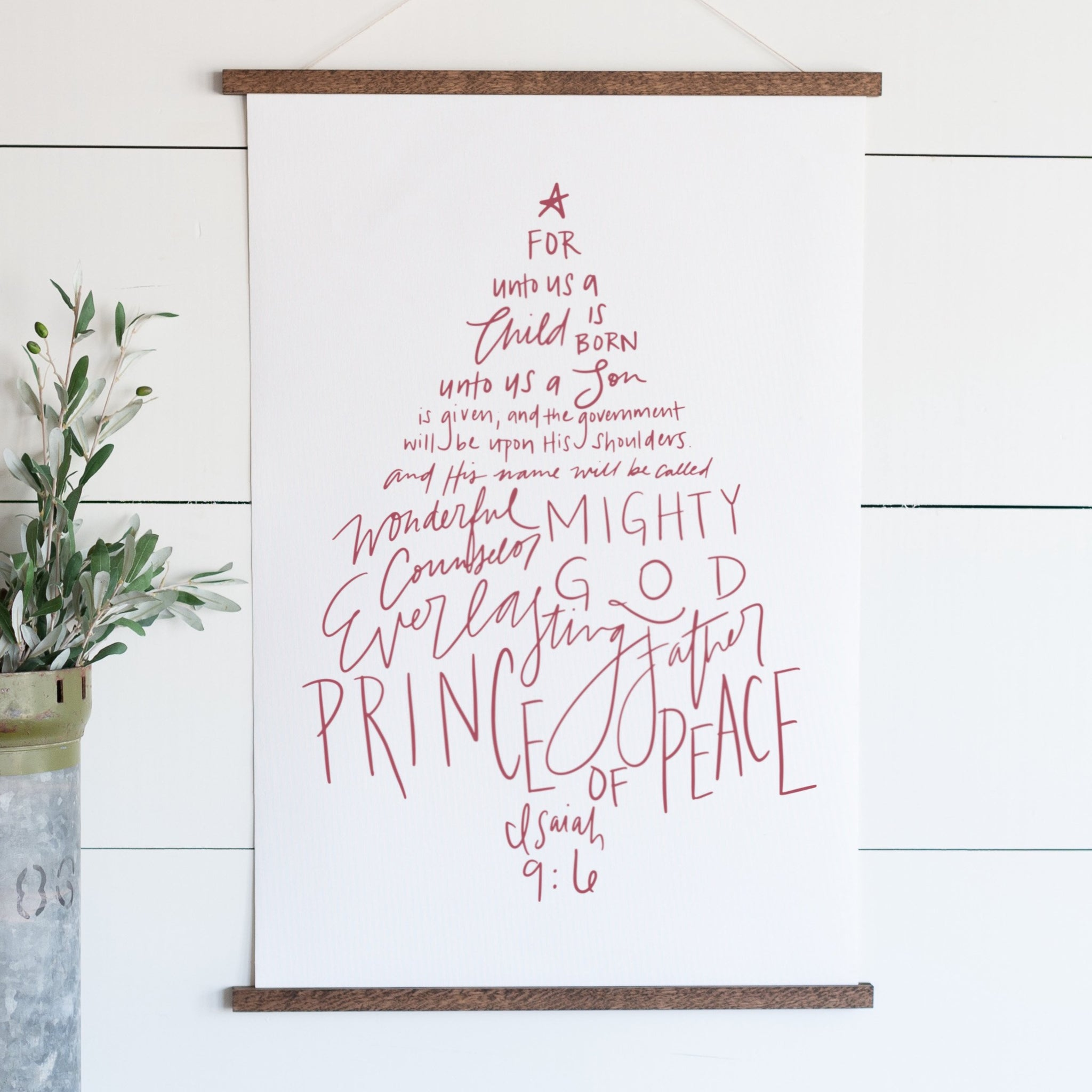 """For Unto us A Child is Born"" Christmas Hanging Canvas"