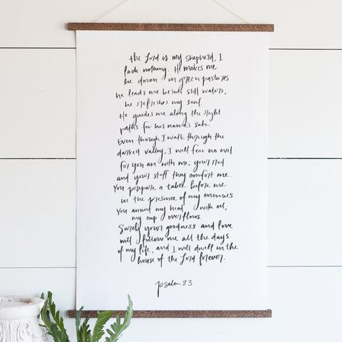 Psalm 23 Hand Lettered Hanging Canvas