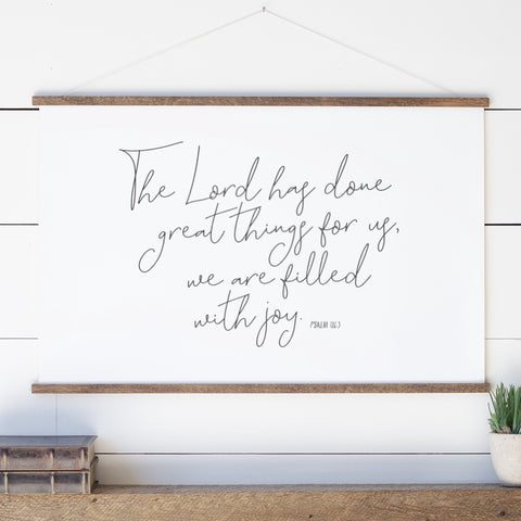 The Lord Has Done Great Things Hanging Canvas