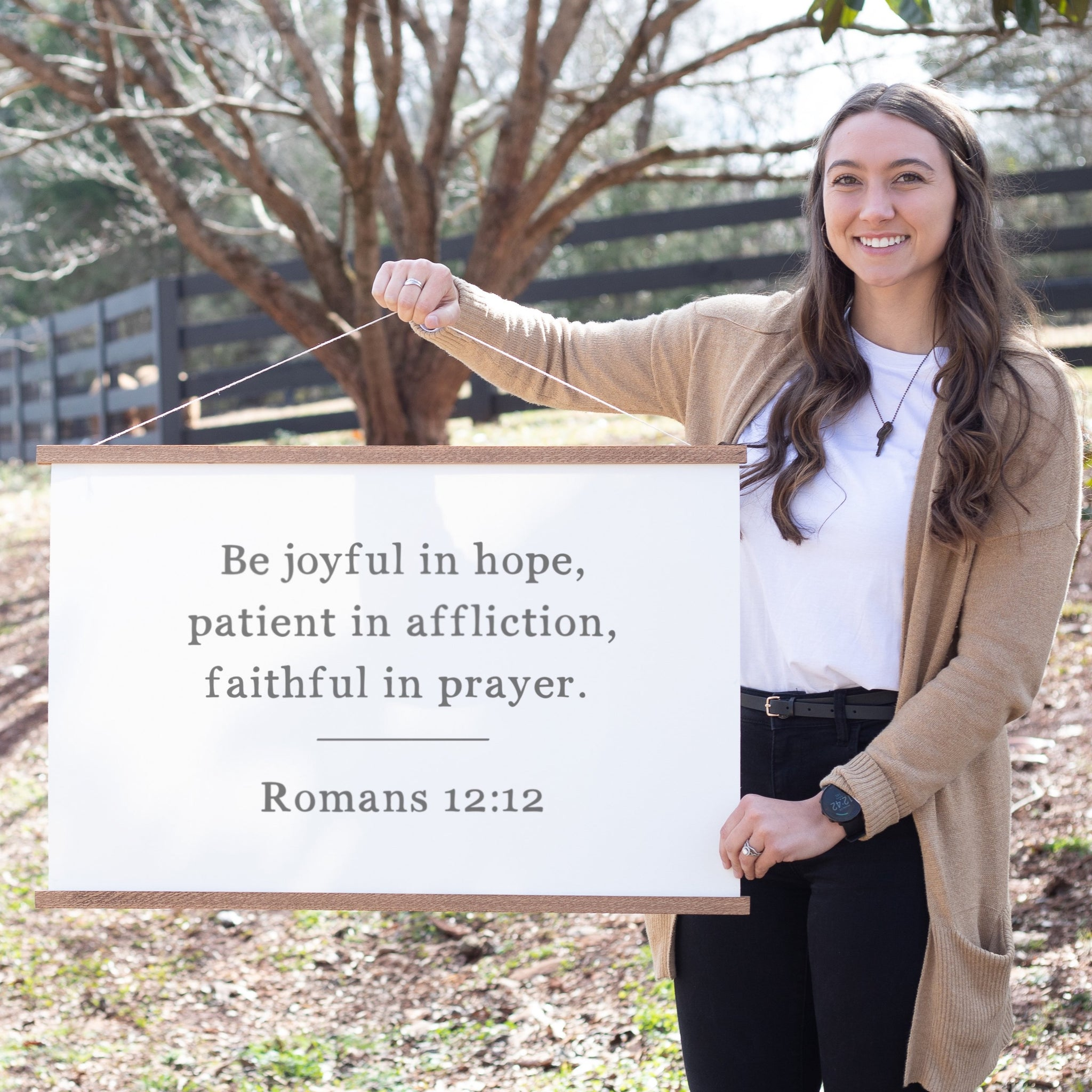Be Joyful In Hope Hanging Canvas